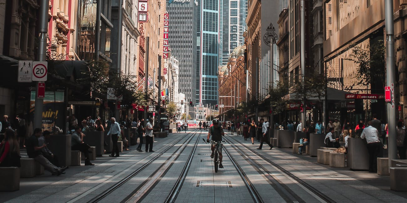 Closed to cars: George Street, Sydney, in 2018.