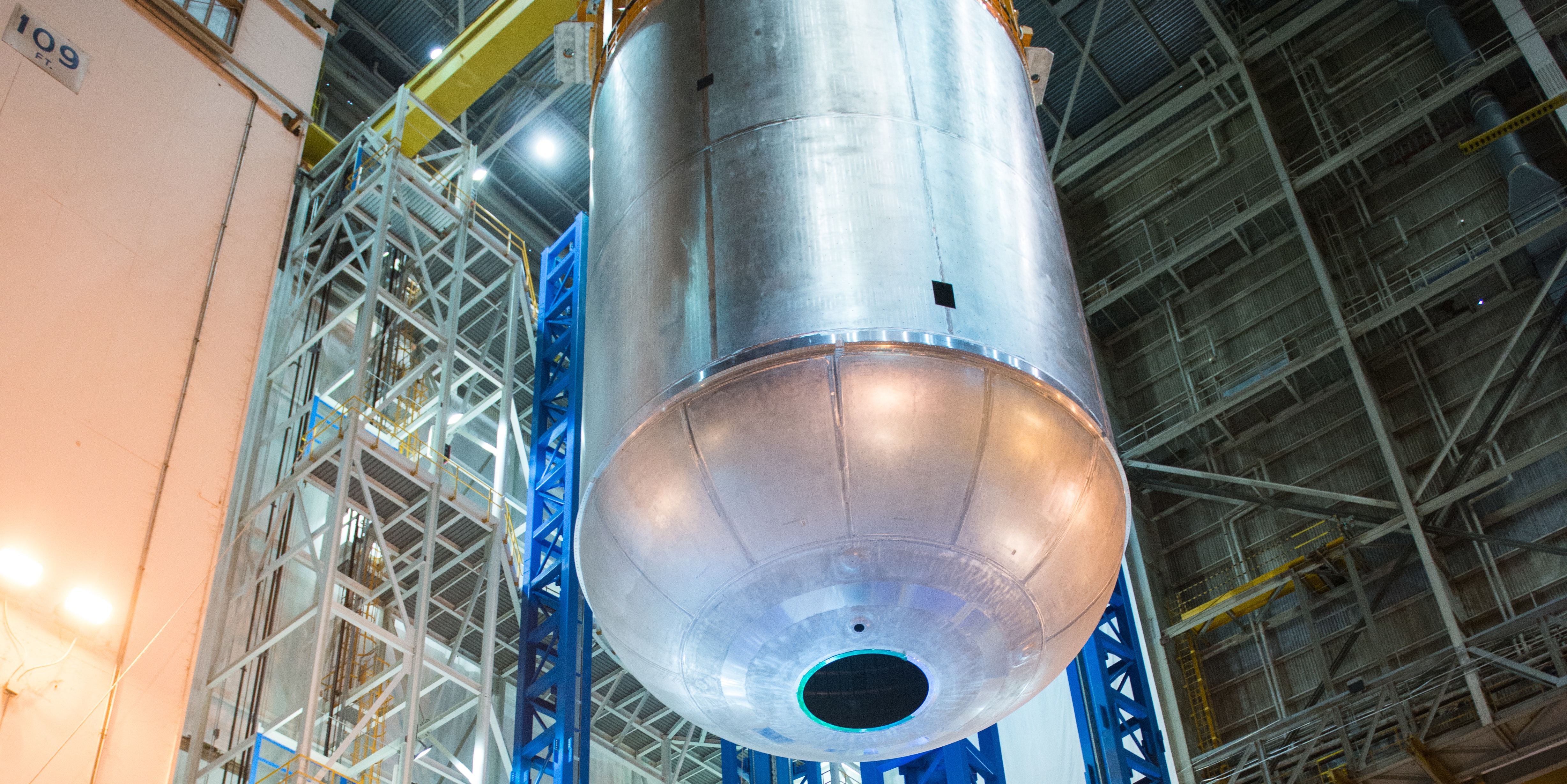 This tank holds 196,000 gallons of liquid oxygen.