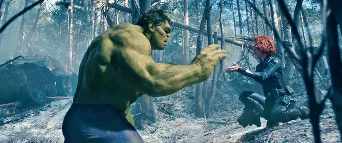 The Hulk (Mark Ruffalo) and Natasha Romanoff (Scarlett Johansson).