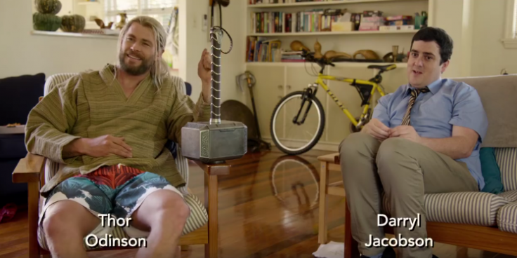 """Thor and Darryl from """"While You Were Fighting: A Thor Mockumentary"""""""