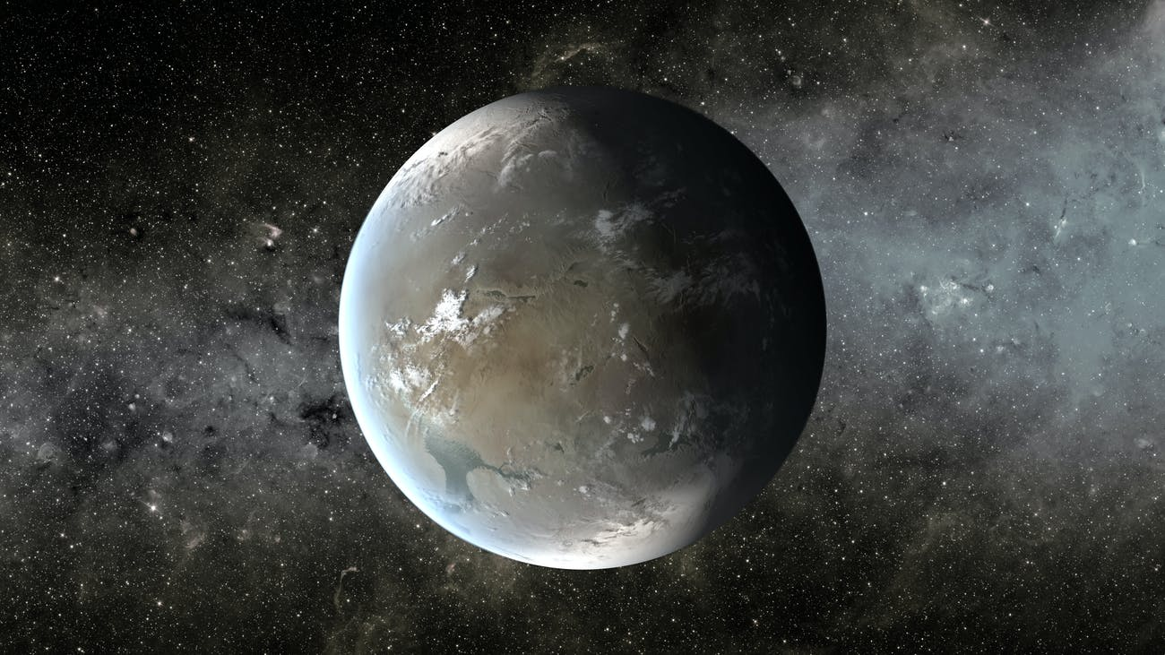 Artist rendition of Kepler-186f, a Super Earth orbiting another star.