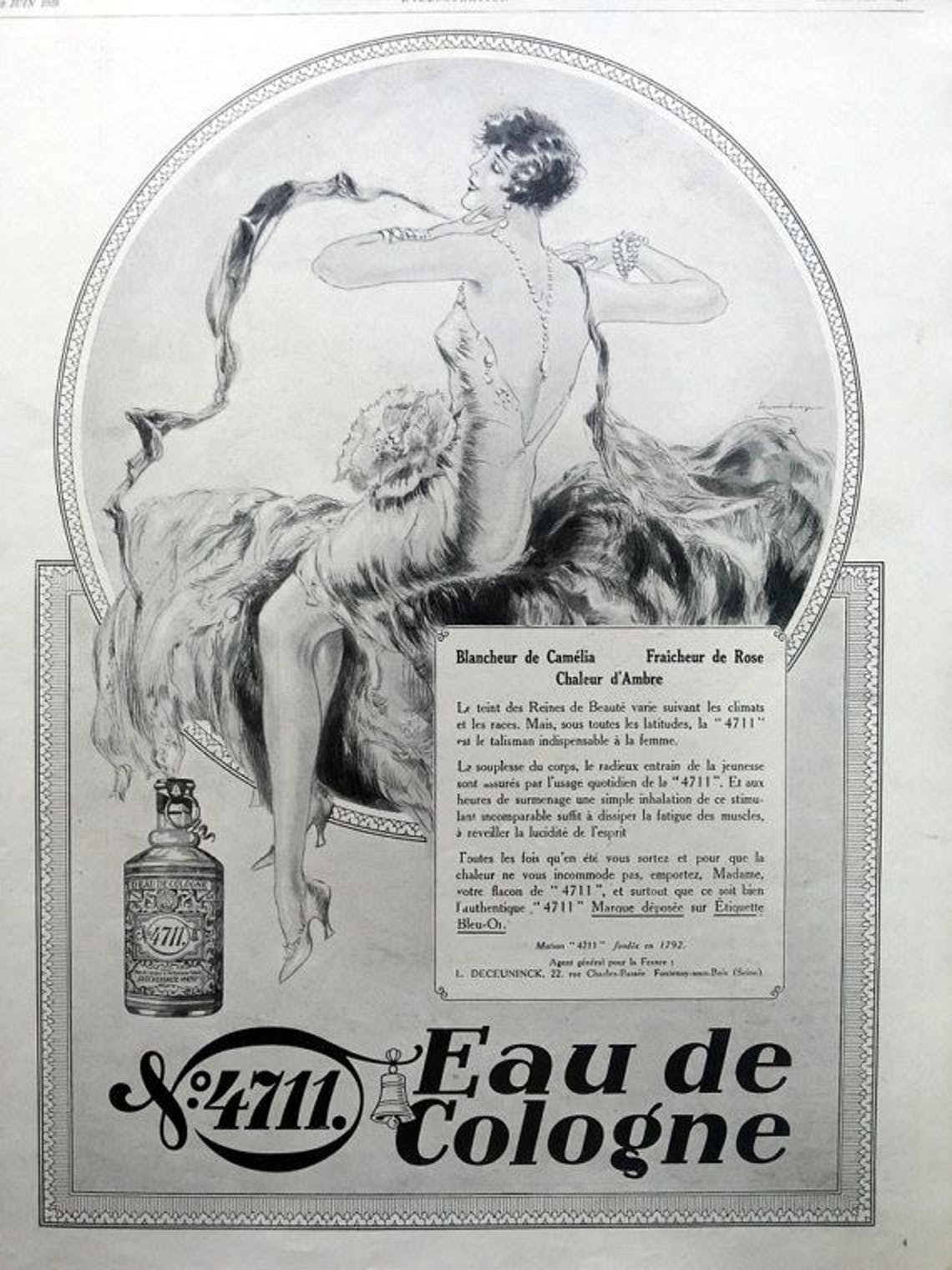 An advertisement for an early Eau De Cologne, worn by all genders.