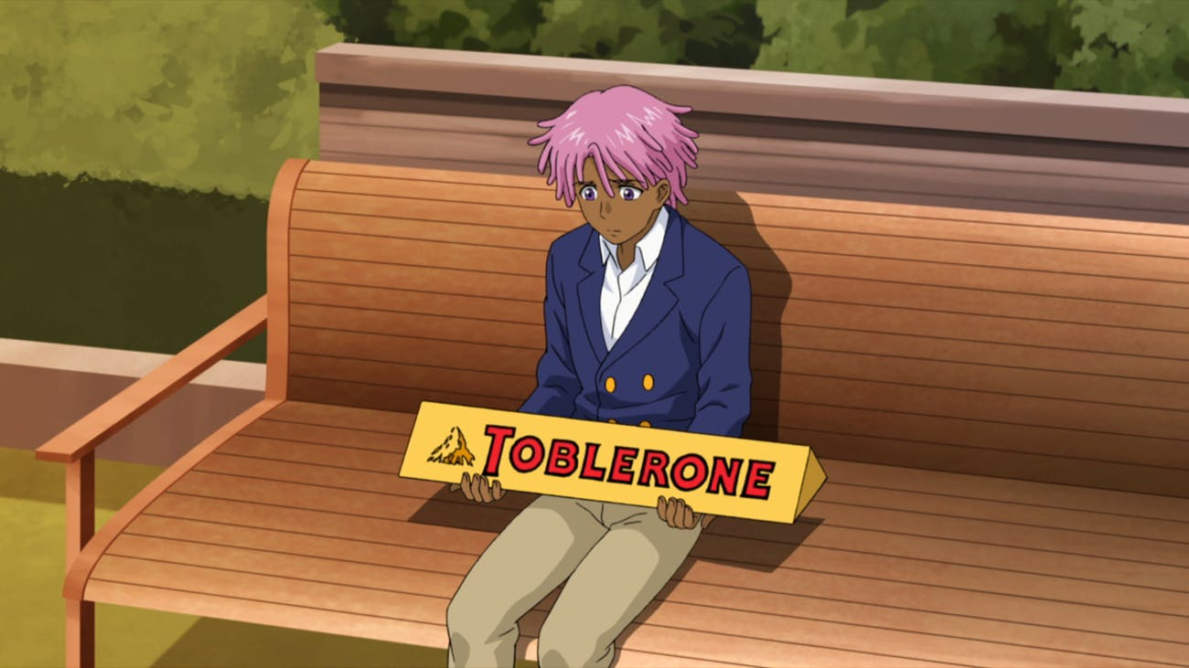 Kaz Kaan holds a Toblerone Jumbo in the anime-inspired Netflix series, 'Neo Yokio'.