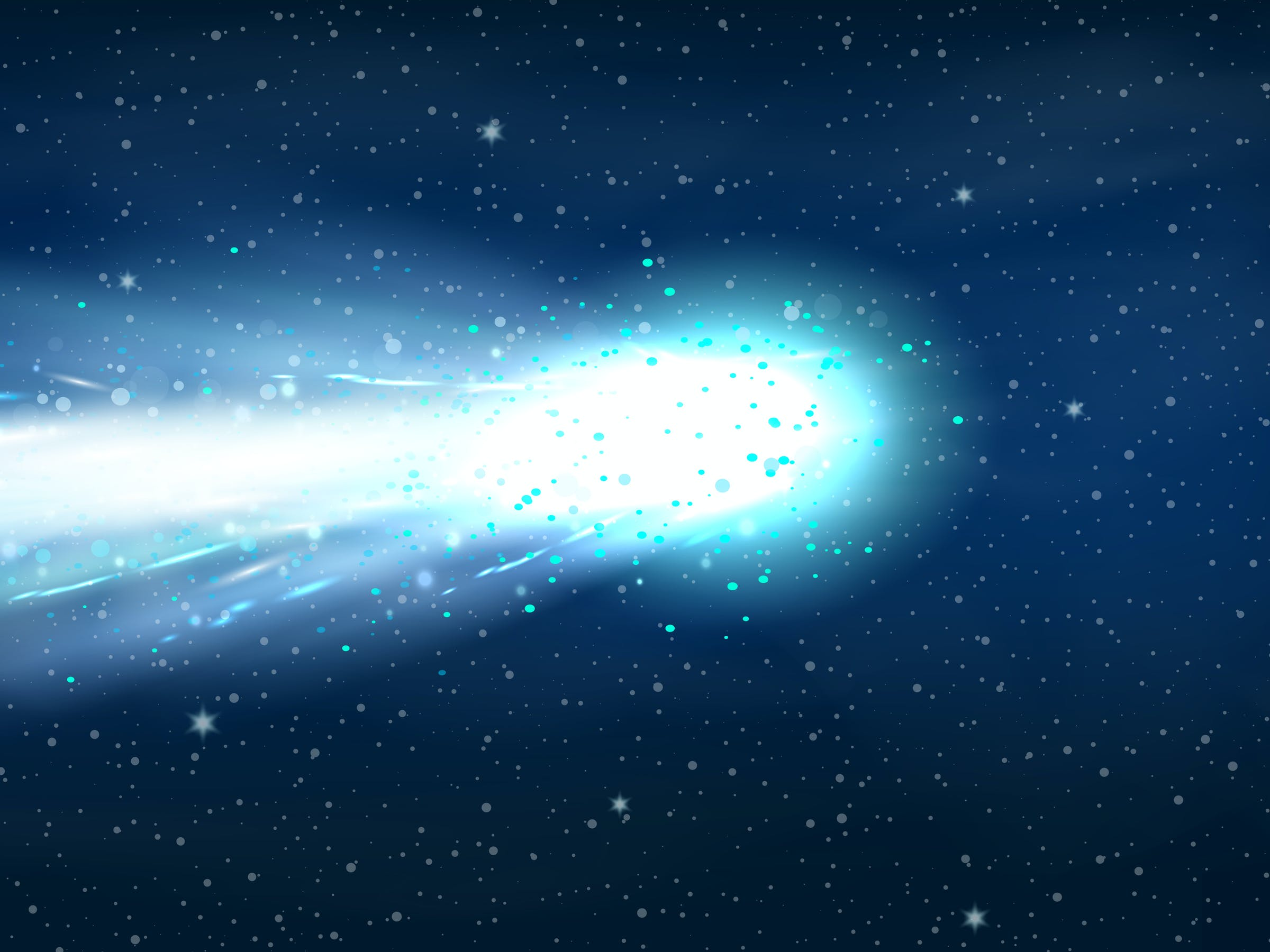 An artist's rendition of a comet, with a tail of gas and dust behind it.
