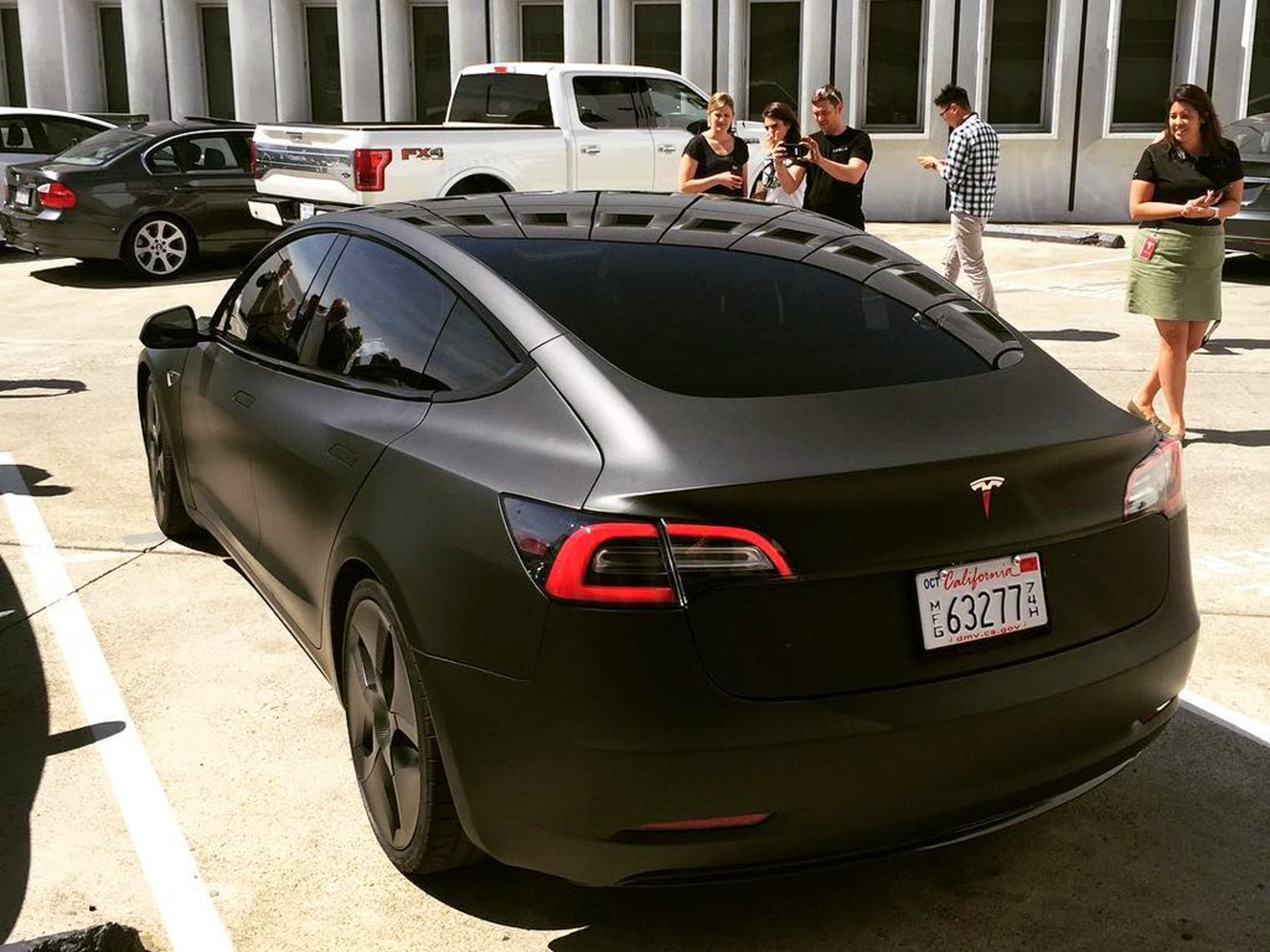 Feast Your Eyes On A Murdered Out Tesla Model 3 Prowling
