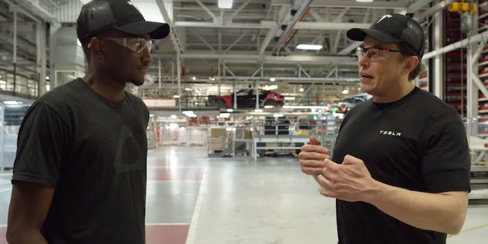 Musk showing MKBHD the factory