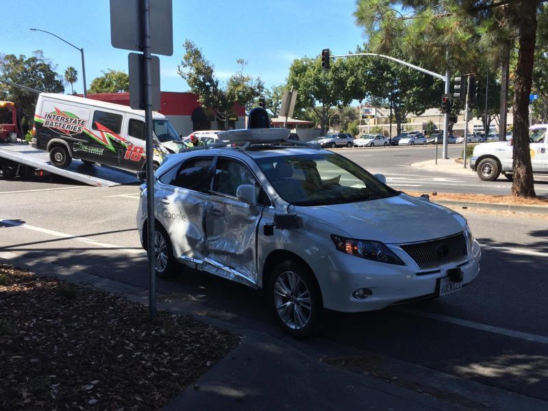 The Google Self-Driving car after a collision on September 24, 2016 in Palo Alto, CA