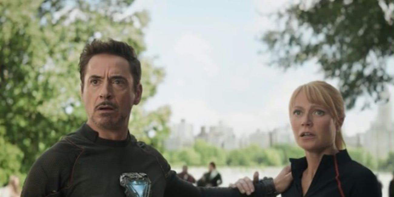 Tony Stark (Robert Downey Jr.) and Pepper Potts (Gyneth Paltrow) in 'Avengers: Infinity War'.