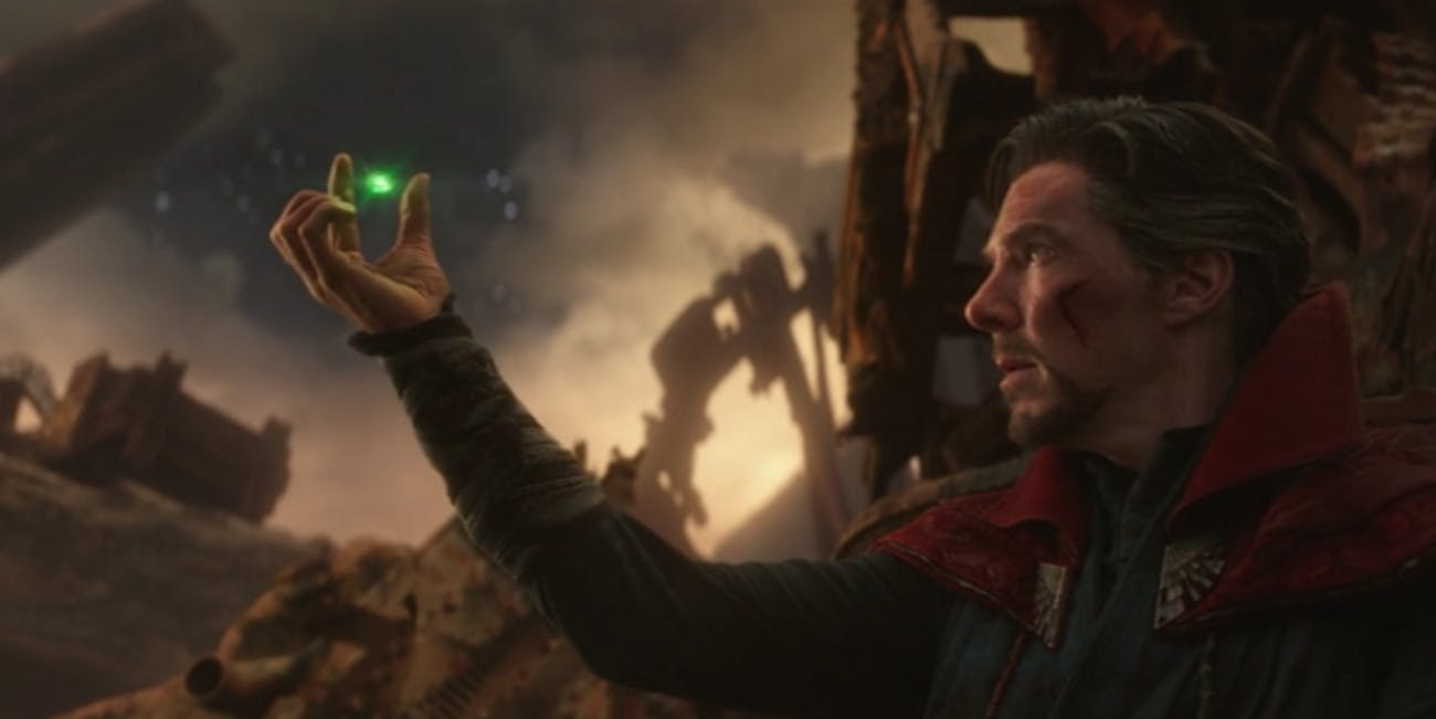 Doctor Strange reveals the Time Stone while on Titan during 'Avengers: Infinity War'.