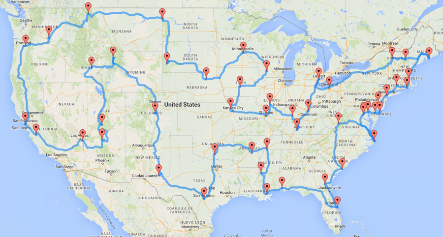 Hit a major landmark in every state in one continuous loop.