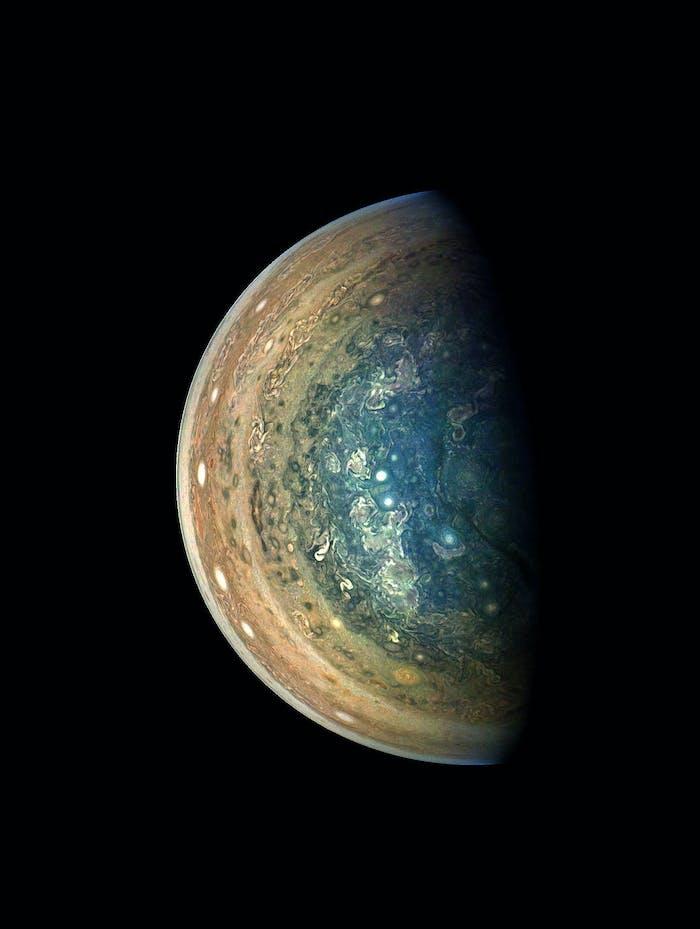 Jupiter's swirling south polar region was captured by NASA's Juno spacecraft