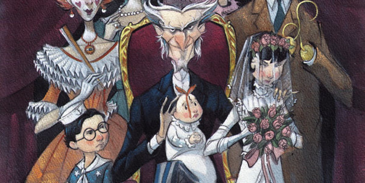 "The Baudelaires and Count Olaf in the climactic fake wedding of ""The Bad Beginning."""