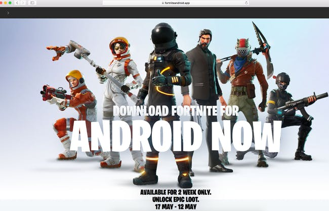 """Fake """"Fortnite' Android Site"""