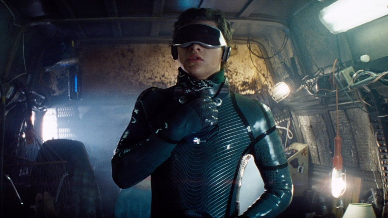 Wade Watts gets an upgraded full-body haptics suit later in the 'Ready Player One' movie.