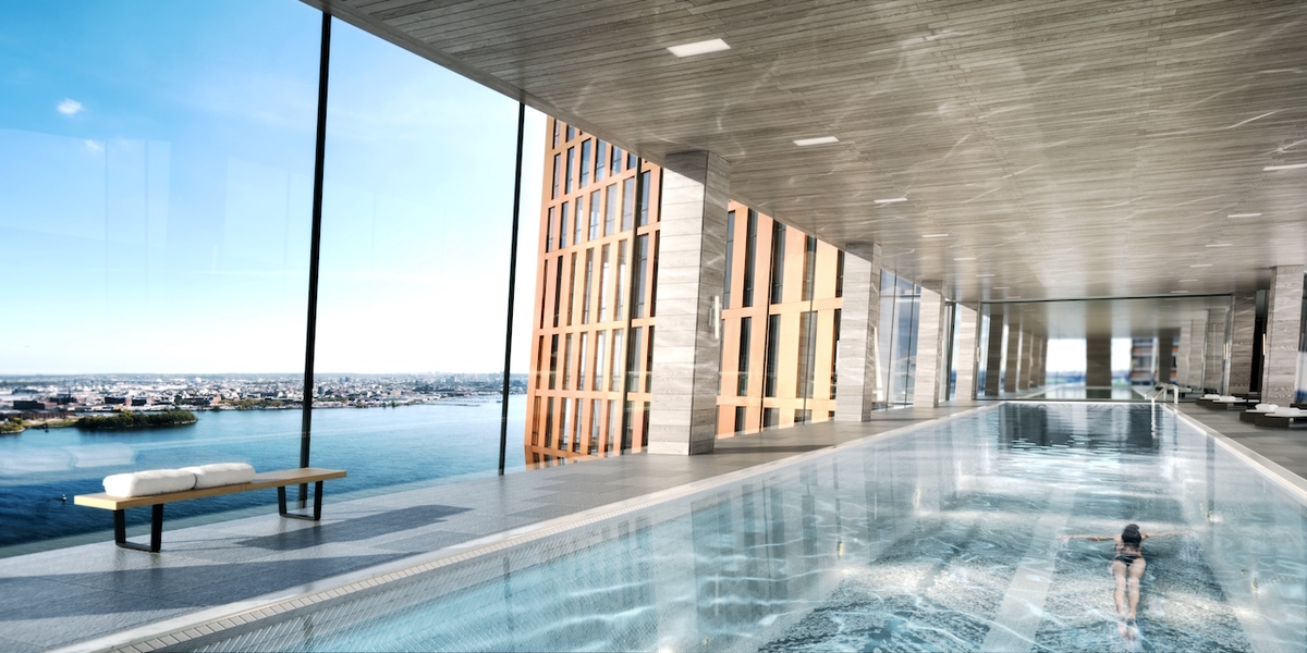 Inside The American Copper Buildings Skybridge Pool Inverse