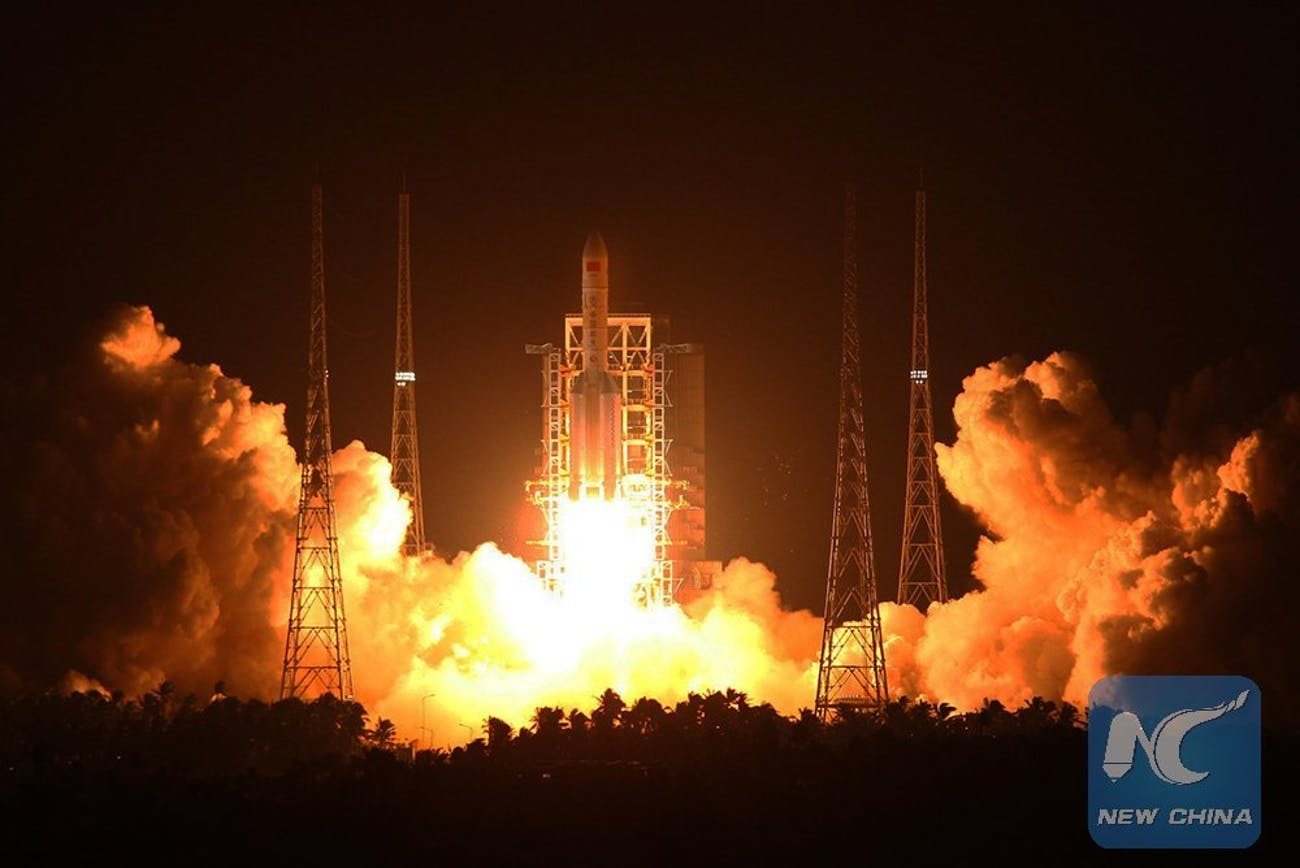 The Long March 5 lifts off on its maiden voyage.