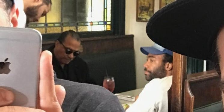 Lando Calrissian actors Billy Dee Williams and Donald Glover were spotted lunching together by Reddit usercyborgcommando0.