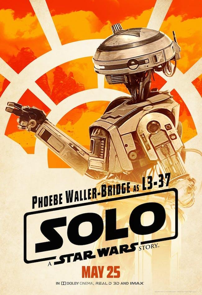 Phoebe Waller-Bridge as L3-37 in 'Solo: A Star Wars Story'.