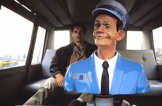 Quaid in the back of the infamous Johnny Cab in 'Total Recall'