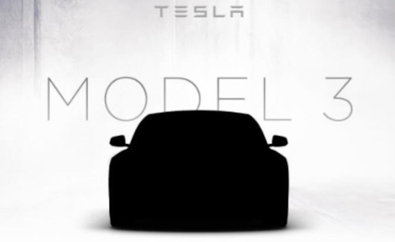 Tesla Model 3 promotional teaser image