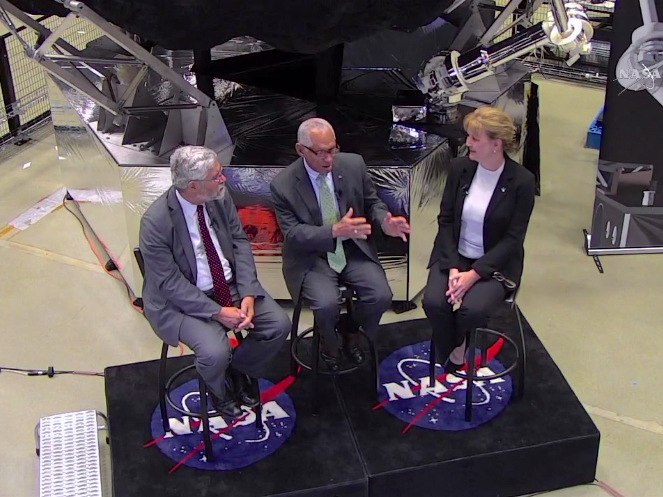 Left to right: Holdren, Bolden, and Gates.