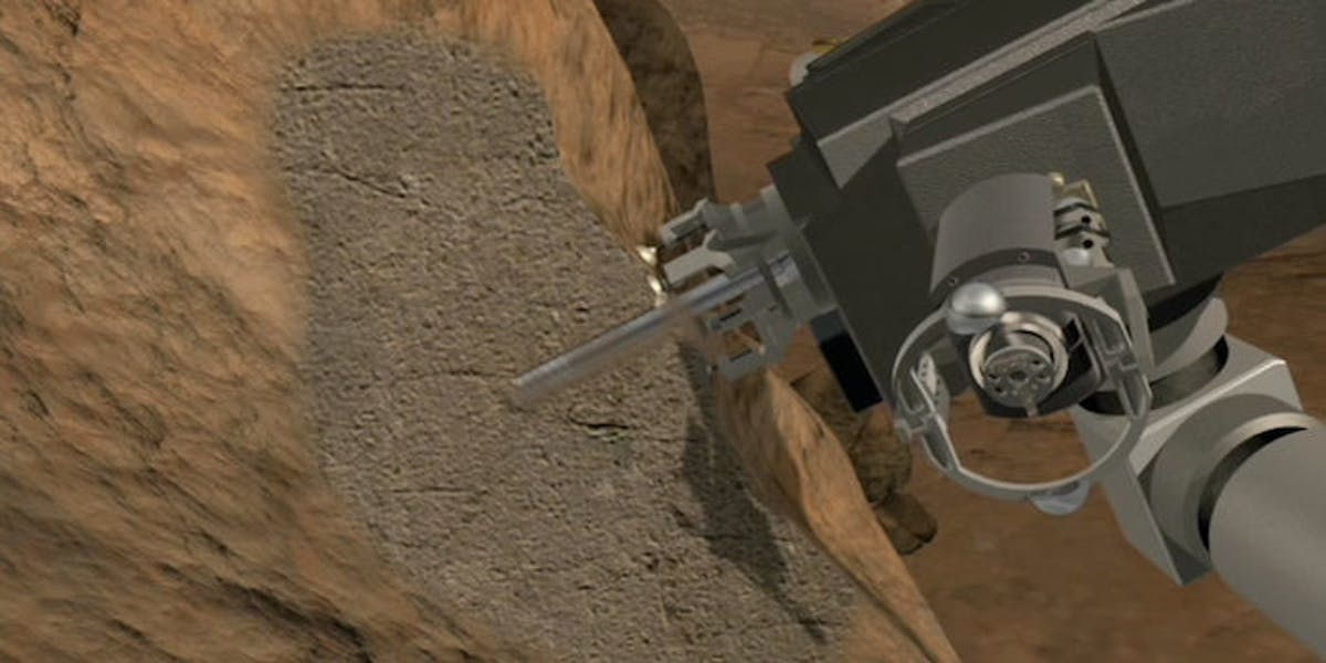 Curiosity's drill searches for wet stuff.