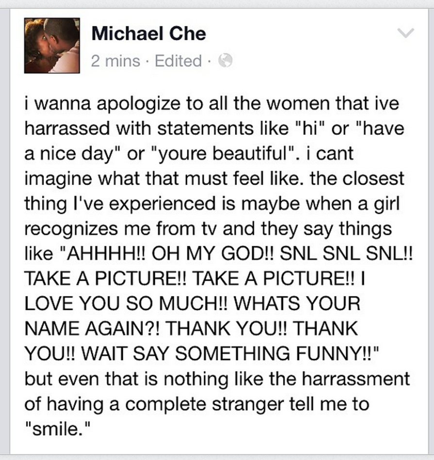 A Facebook post by 'SNL' star Michael Che in 2014