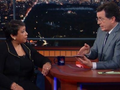 Loretta Lynch Backs Up the FBI's Case Vs Apple on Stephen Colbert