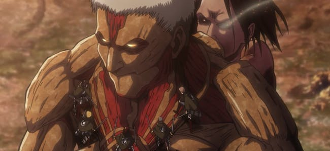 The Armored Titan can't shield Bertholdt and Eren while also swatting off his former comrades.
