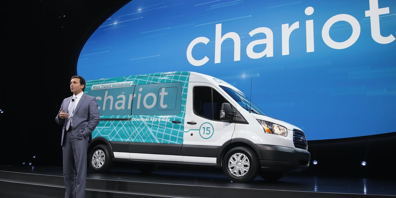 Mark Fields, President and CEO of Ford, speaks about Chariot transit service which was recently purchased by Ford at the North American International Auto Show (NAIAS) on January 9, 2017 in Detroit, Michigan. The show is open to the public from January 14-22.