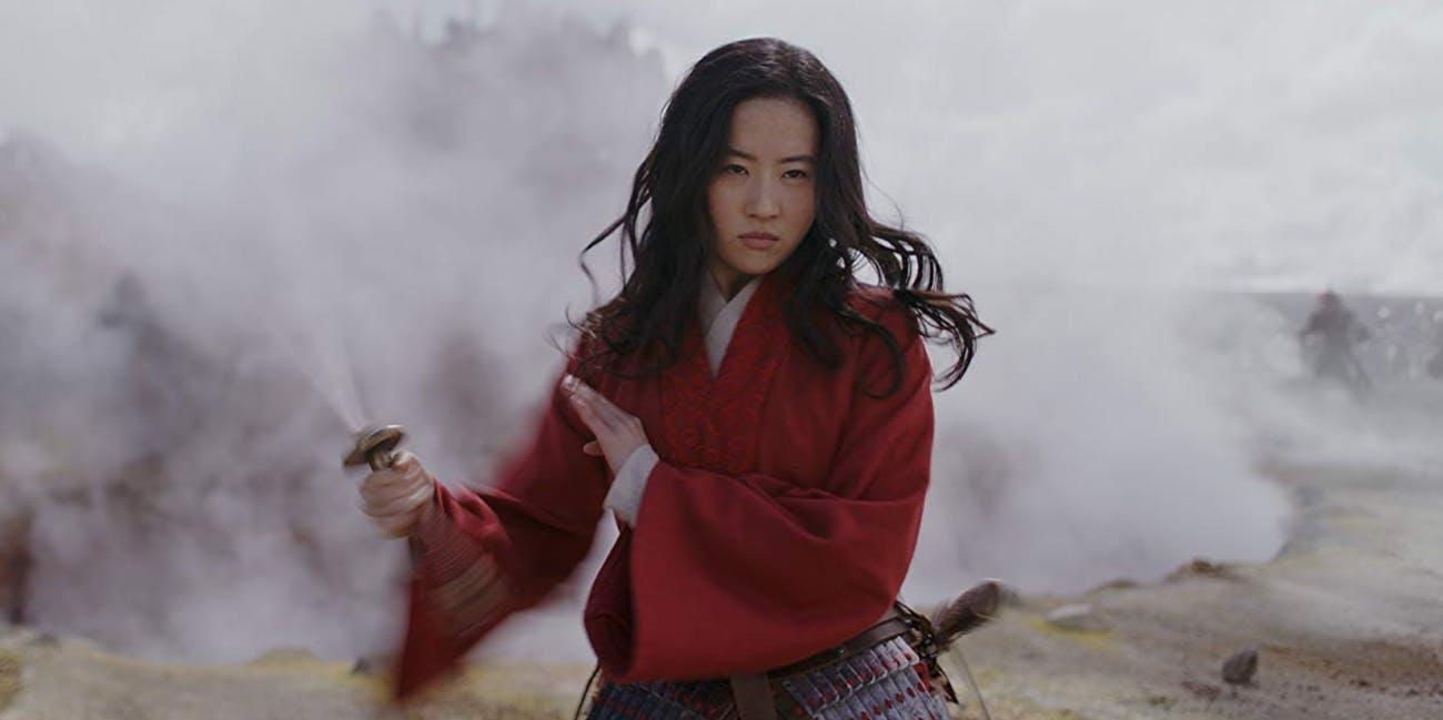 Li Yifei as Mulan on the battlefield in Disney's live-action Mulan