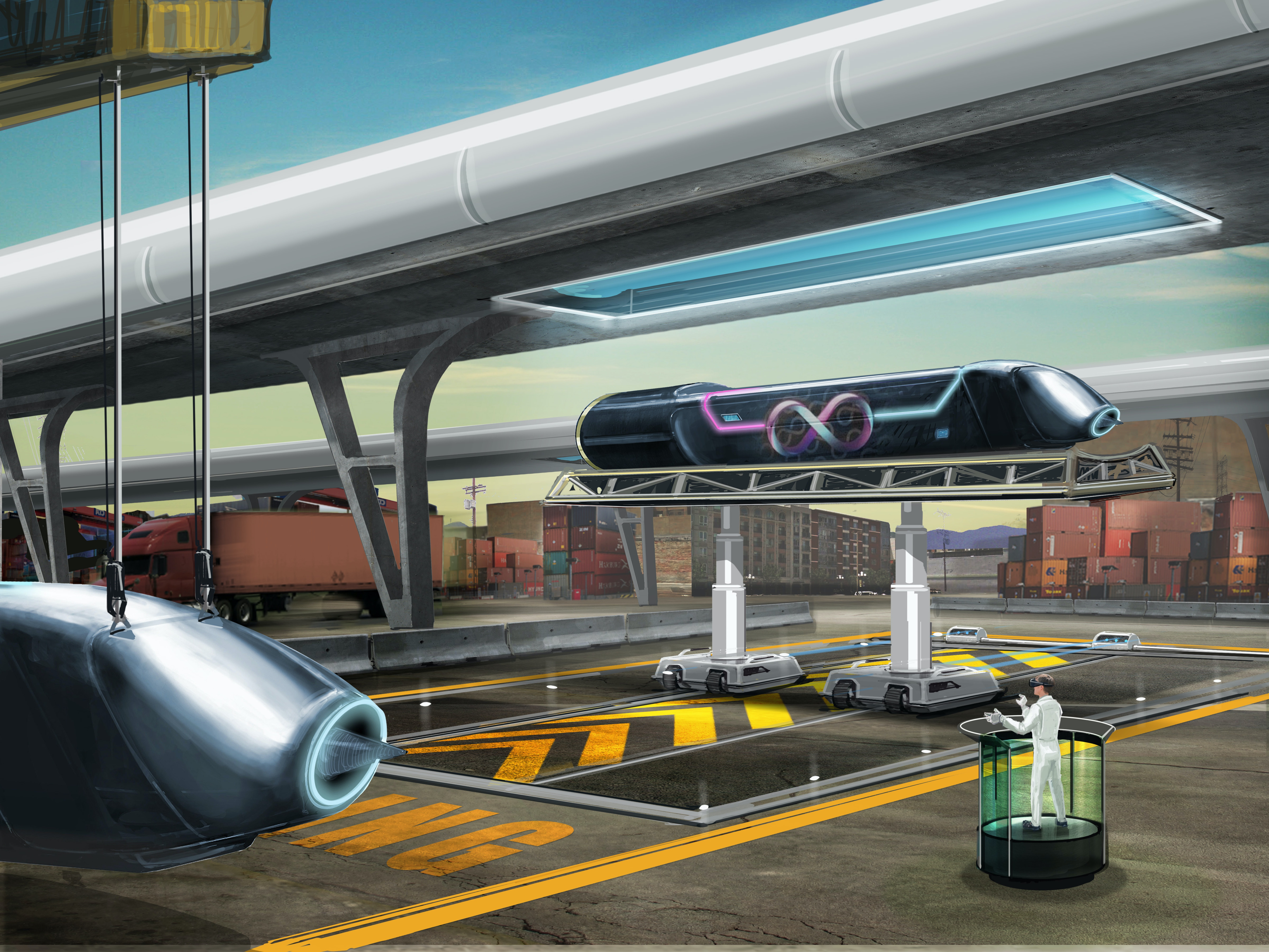 A concept illustration demonstrates how the pod would be loaded into the hyperloop tube.