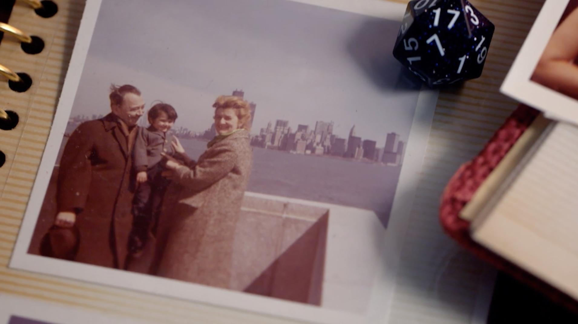Pokorny with his adoptive family in New York City.