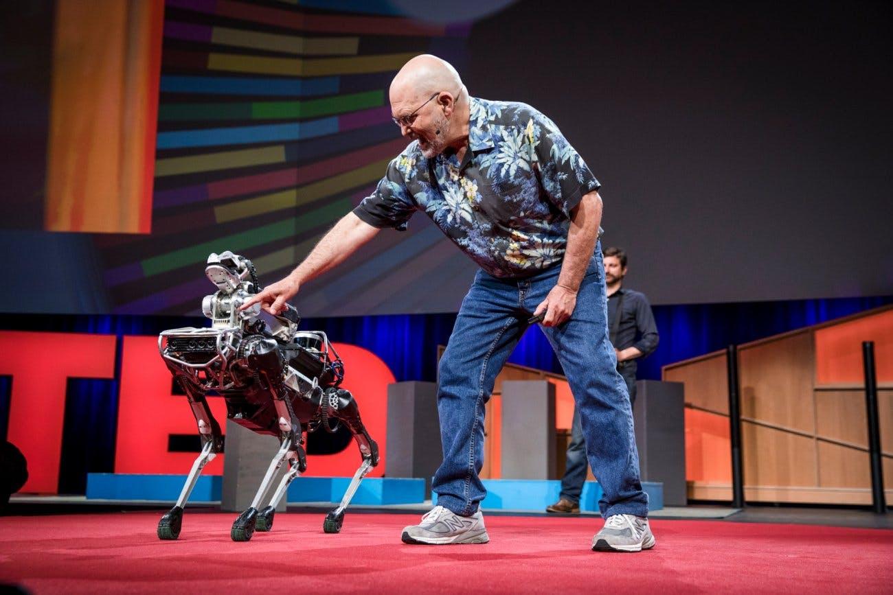 Raibert and SpotMini at TED 2017.