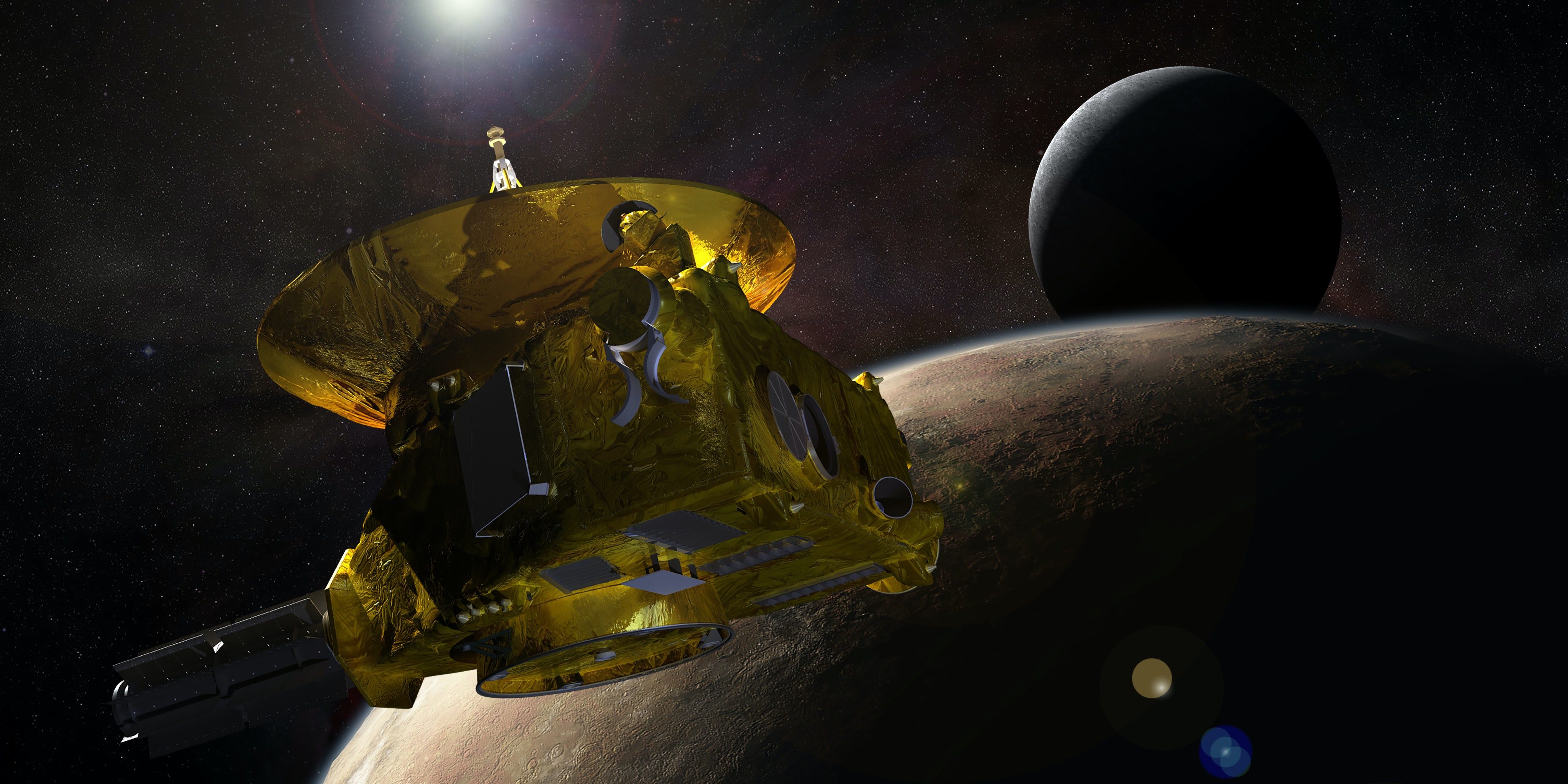 New Horizons approaching Pluto and its moon Charon