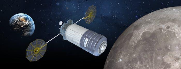 Concept image of Orbital ATK's cislunar habitat based, based on the design of the Cygnus spacecraft.