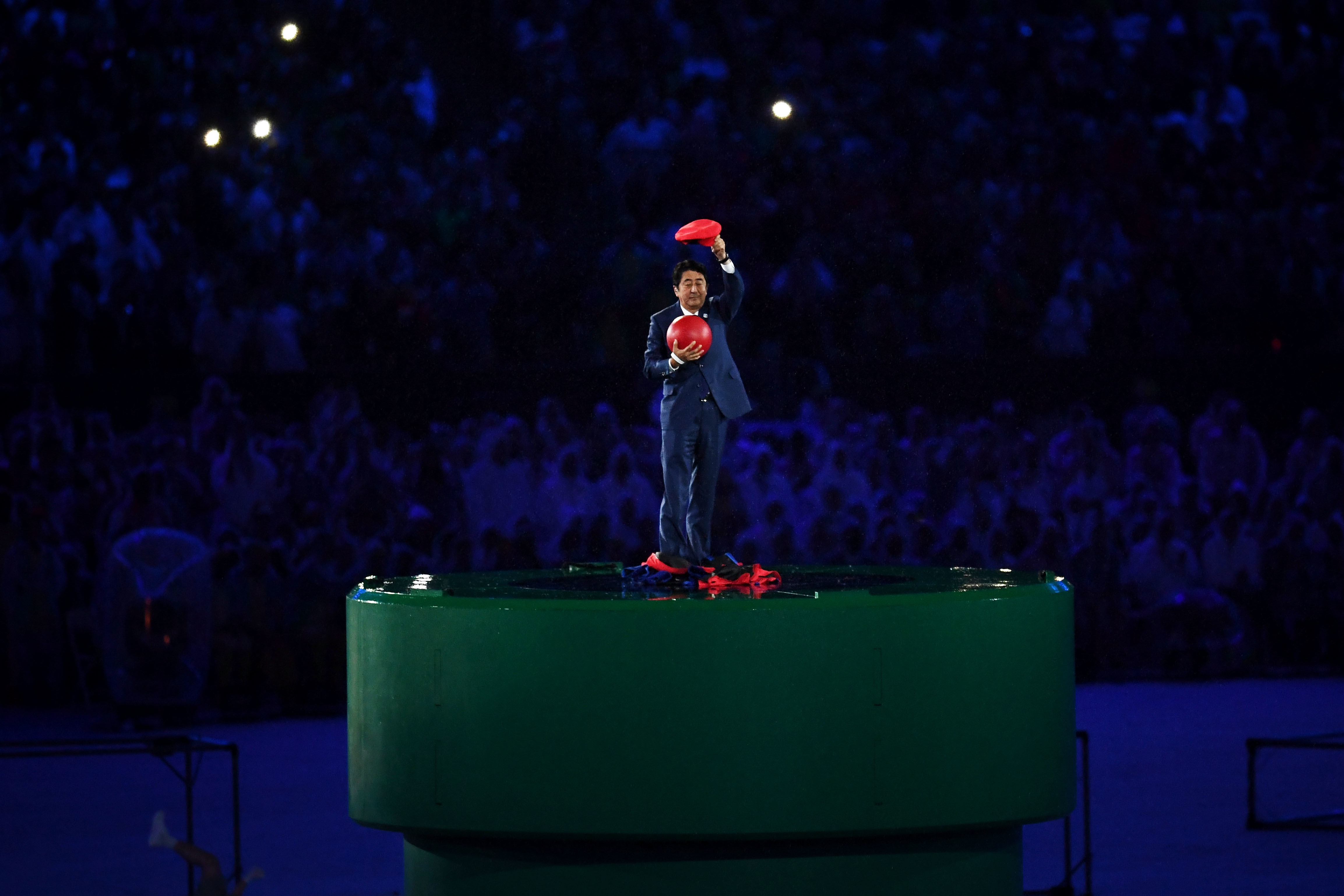 RIO DE JANEIRO BRAZIL- AUGUST 21 Japan Prime Minister Shinzo Abe appears during the'Love Sport Tokyo 2020 segment during the Closing Ceremony on Day 16 of the Rio 2016 Olympic Games at Maracana Stadium