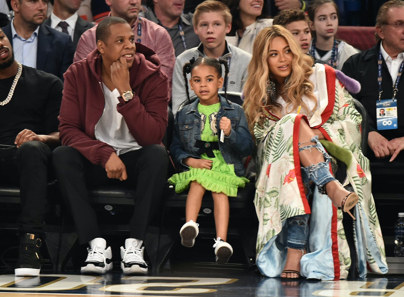 NEW ORLEANS, LA - FEBRUARY 19: Jay Z, Blue Ivy Carter and Beyonce Knowles attend the 66th NBA All-Star Game at Smoothie King Center on February 19, 2017 in New Orleans, Louisiana. (Photo by Theo Wargo/Getty Images)