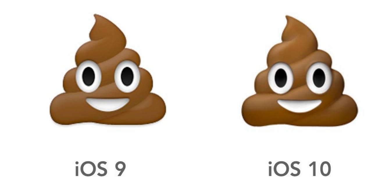 the poo emoji looks different and other important ios 10 changes