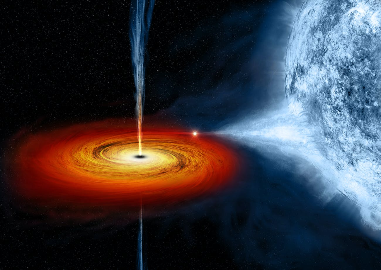 The black hole named Cygnus X-1 formed when a large star caved in. This black hole pulls matter from the blue star beside it.