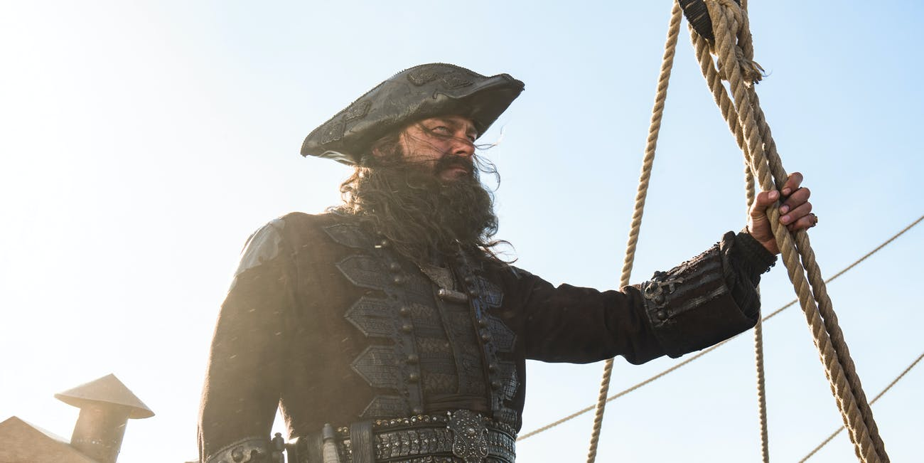 Ray Stevenson as Teach prepares to avenge Charles Vane in Black Sails Season 4