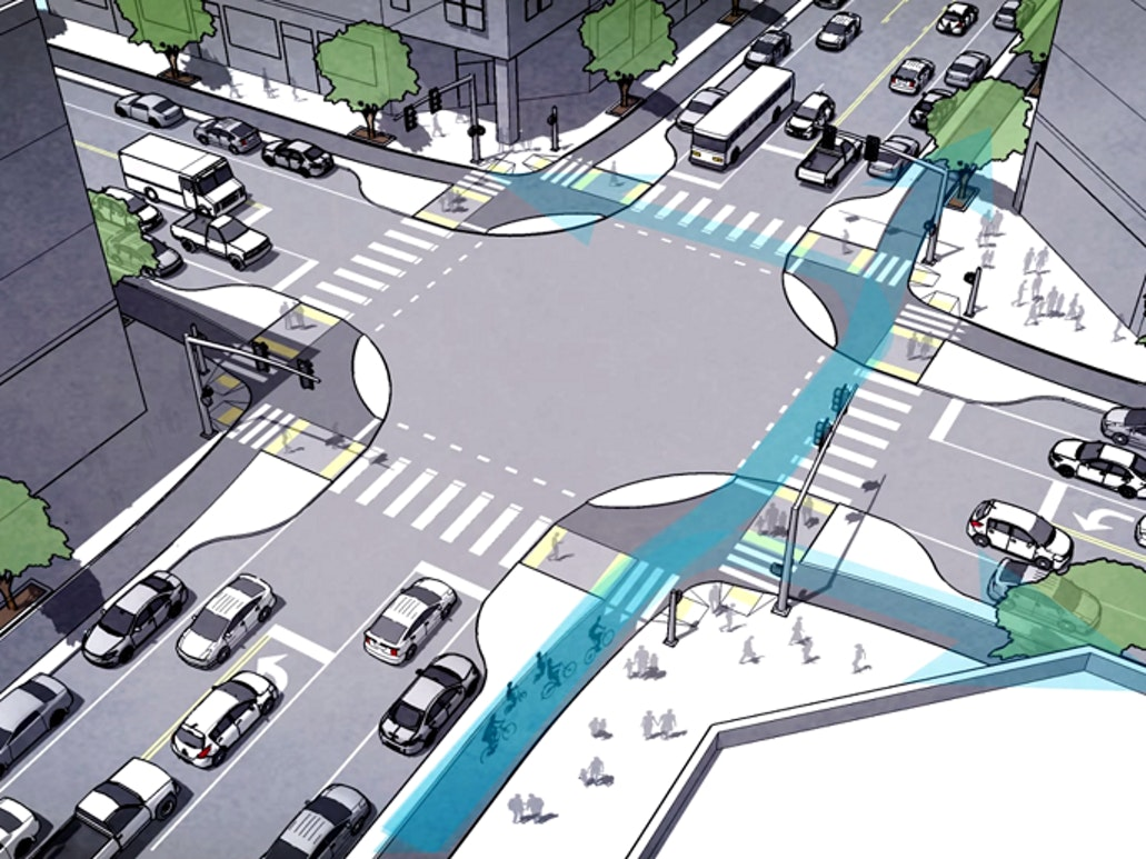 Concept art of protected intersection