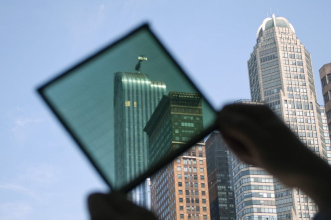 New York City skyscrapers, as seen through a SolarWindow panel.