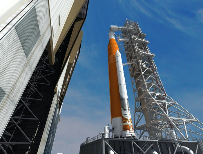 This artist concept depicts the Space Launch System rocket rolling out of the Vehicle Assembly Building at NASA's Kennedy Space Center. SLS will be the most powerful rocket ever built and will launch the agency's Orion spacecraft into a new era of exploration.