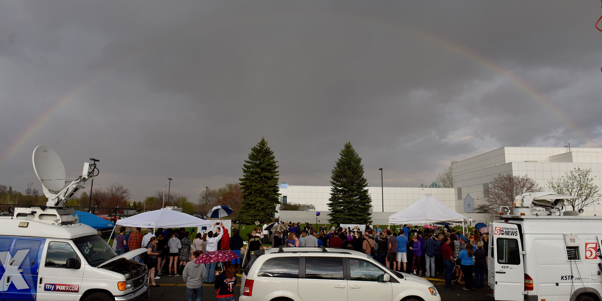 A rainbow over Paisley Park on the day of Prince's death.