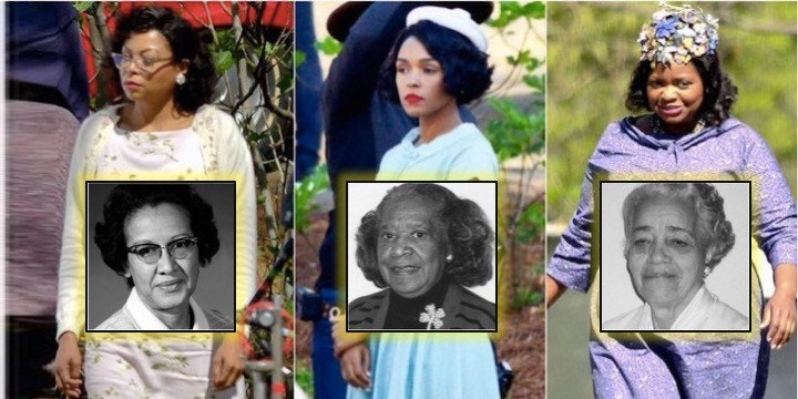 (Left to right) Henson, Monae, and Spencer alongside their real-life counterparts.