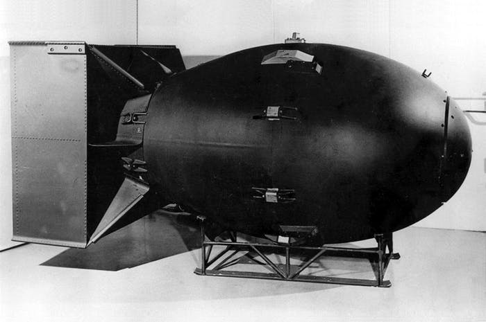 "A mockup of the ""Fat Man"" nuclear device."