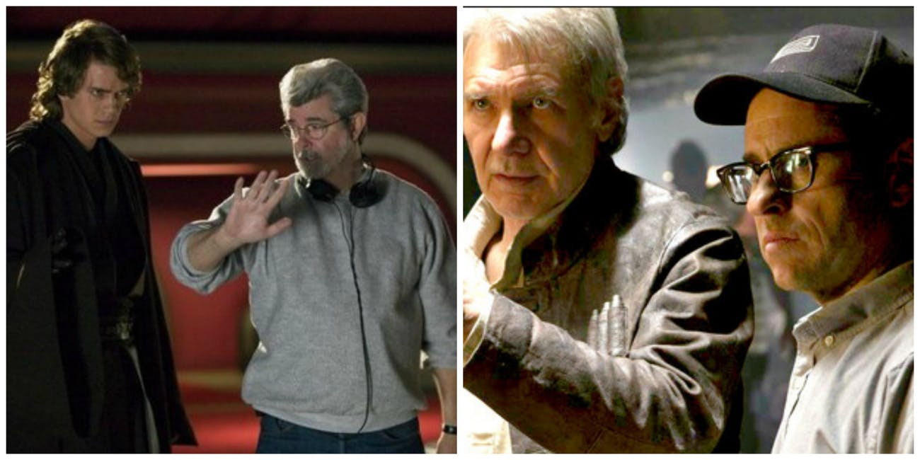 LEFT: George Lucas directs 'Revenge of the Sith.' RIGHT: J.J. Abrams directs 'The Force Awakens.'