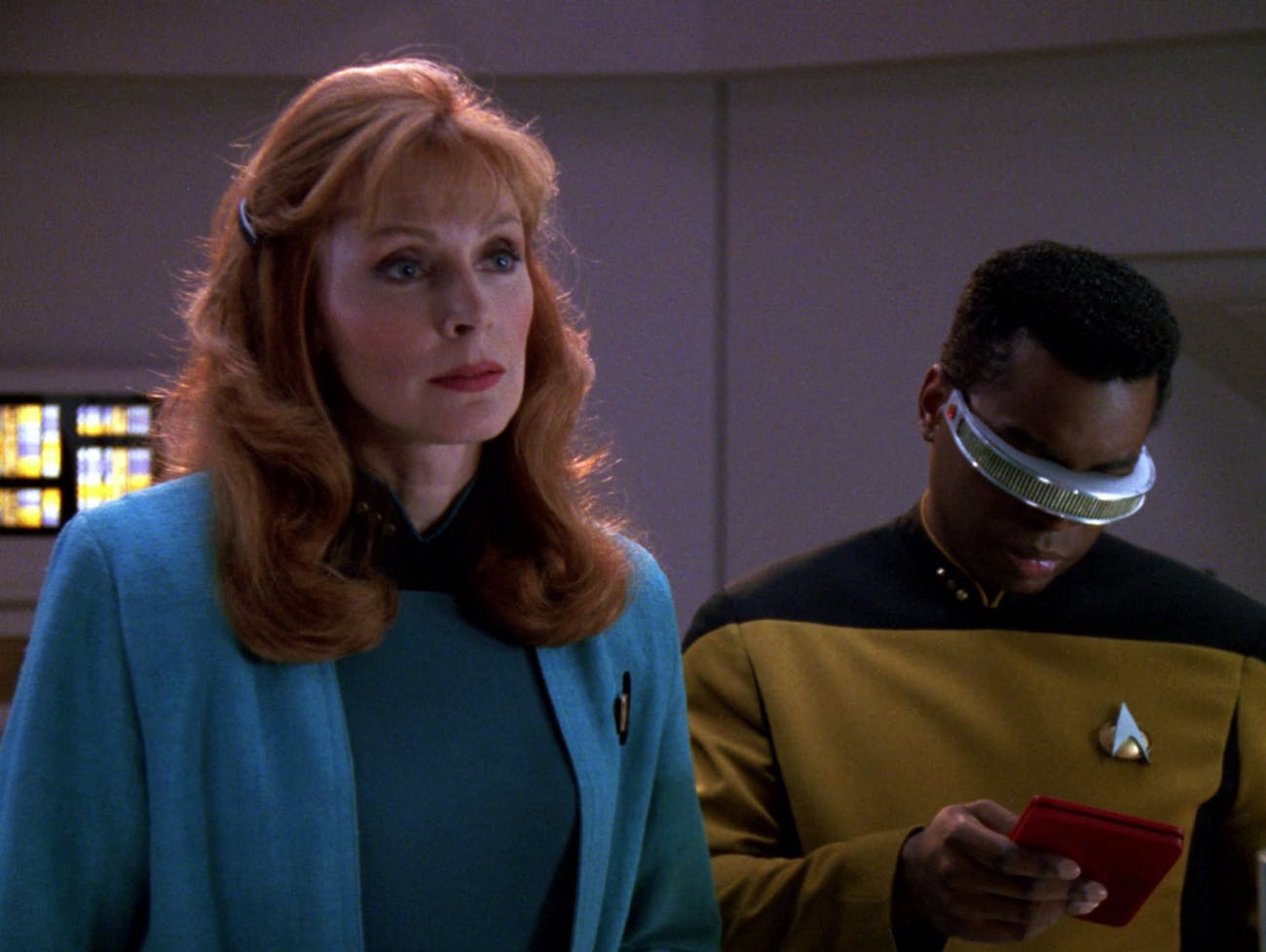 "Dr. Cruhser (Gates McFadden) and Geordi La Forge (Levar Burton) in ""I, Borg."""