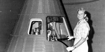 Jerrie Cobb with a Mercury capsule.